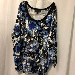 Lane Bryant Women's Cardigan Sweater Blue Floral P